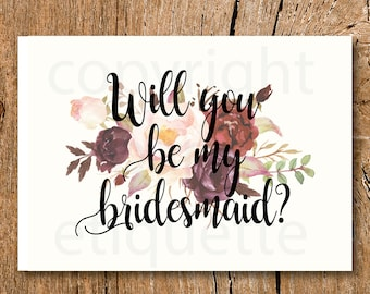 Maroon Will You Be My Bridesmaid - Rustic Fall Bridesmaid - Blush Bridesmaid Invite - Fall Wedding Shower -Fall Bridesmaid -Blush Bridesmaid