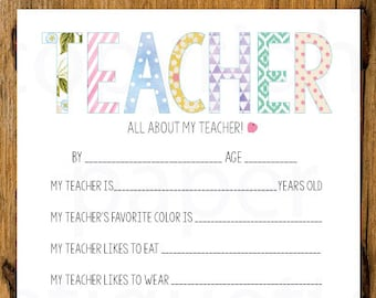 Best Teacher Card - All About My Teacher - Teacher Appreciation /End of Year Teacher Gift - Teacher Birthday Gift- Teacher / Educator Gift