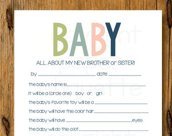 All About The Baby -  New Sibling Gift, Baby Predictions, Baby Shower Game, Sibling Shower Gift, All About My Sibling, New Baby Shower Game