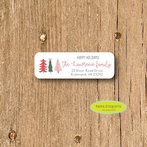 happy holiday funky christmas tree customized return address etsy