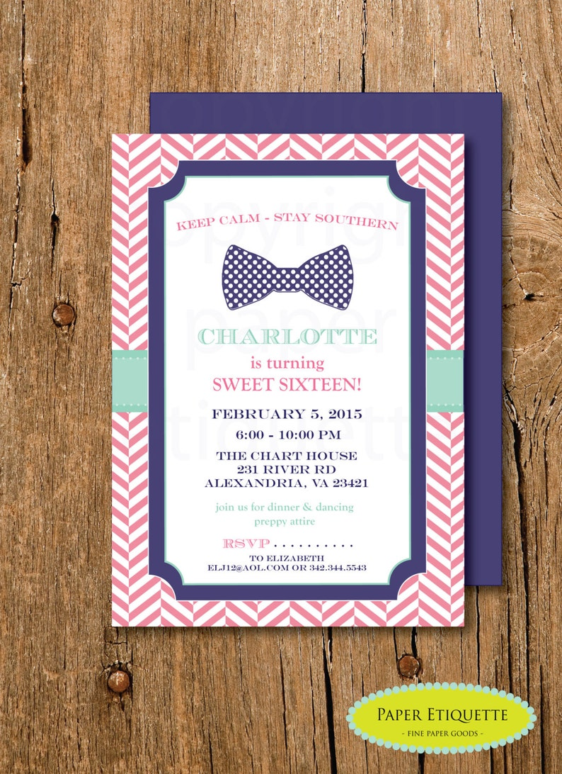 Southern Bowtie Preppy Invitation Birthday Party