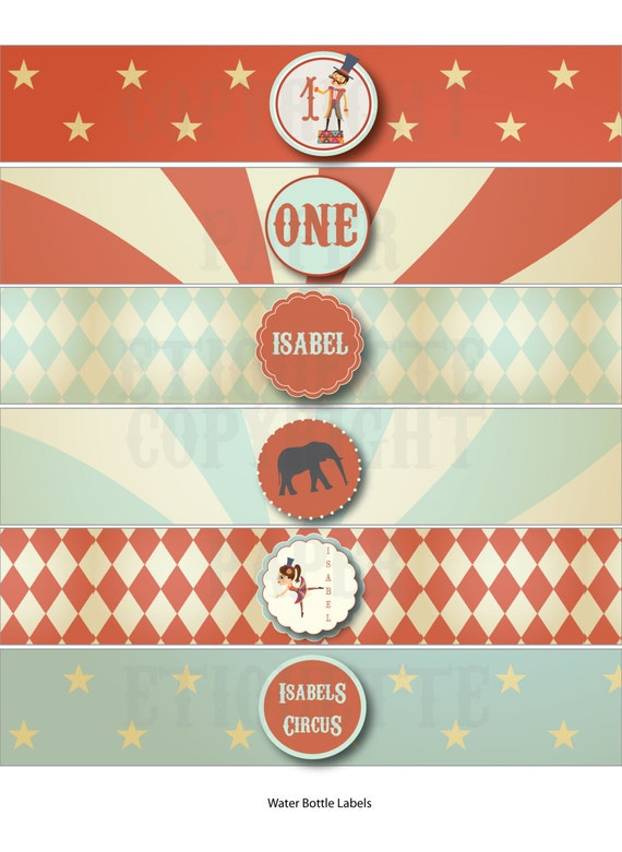 Vintage Circus Water Bottle Labels