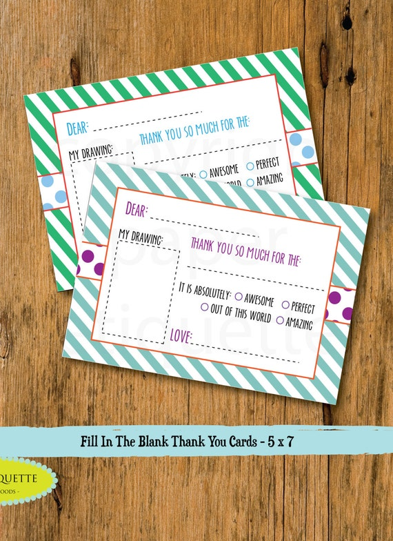 Kid S Fill In The Blank Thank You Card Christmas Thank Etsy