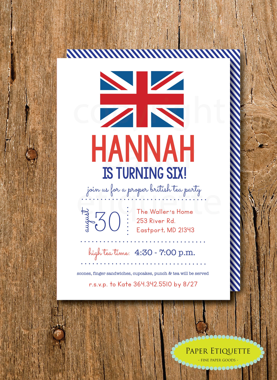 Union Jack Party Invitations British London Birthday Tea   Etsy