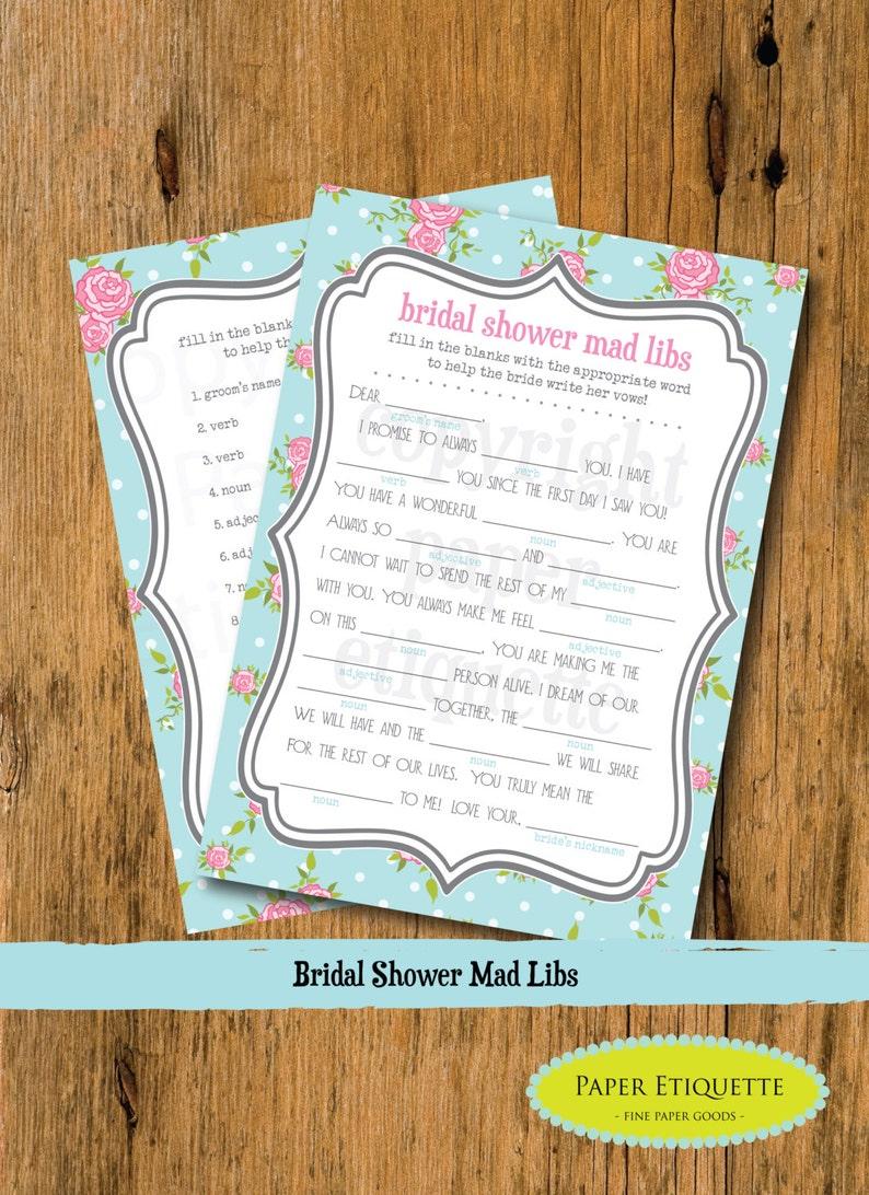INSTANT UPLOAD Bridal Shower Game Mad Libs - Turquoise Wedding Shower Mad  Libs, Bridal Shower Game, Mad Libs Bridal Game, Bride Shower Game