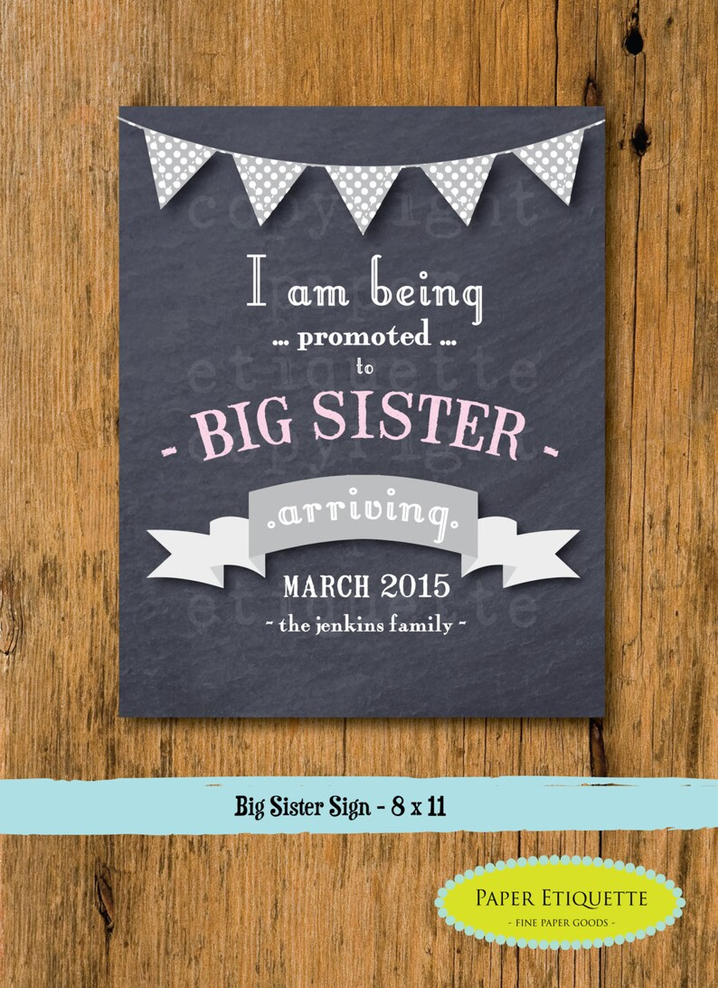 Custom Big Sister Announcement Chalkboard Sign Printable Big Sister  Promotion - Pregnancy Announcement - Pregnancy Reveal - We're Expecting