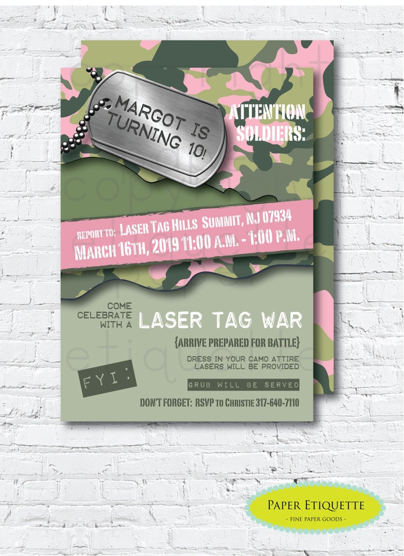Laser Tag Camo Birthday Invite War PartyPink InvitationGirl Paint Nerff Gun Party Girl Army