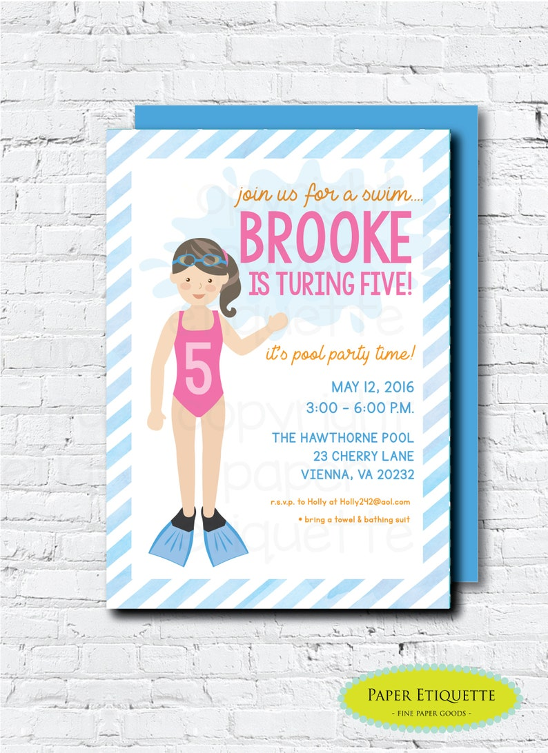 Pool Party Birthday Invitation Girl Swim