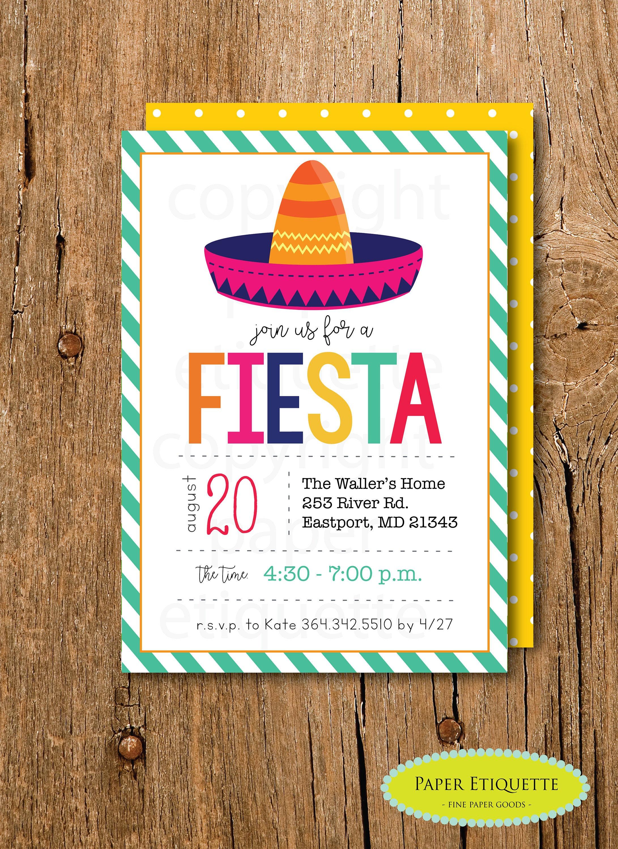 Fiesta Birthday Invite Tacos And Tutus Shower Fiesta Baby Etsy