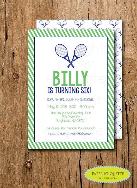 Boy tennis invitation tennis birthday party tennis etsy image 0 filmwisefo