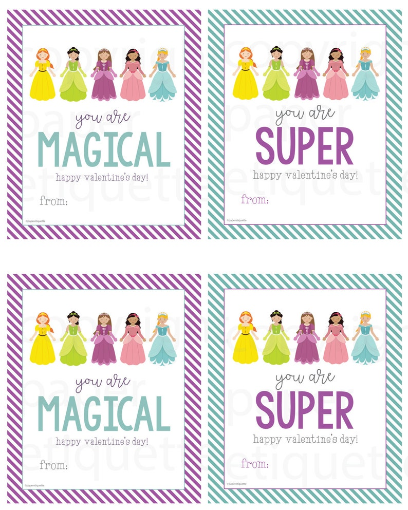 kid valentine's day cards preschool valentine princess  etsy
