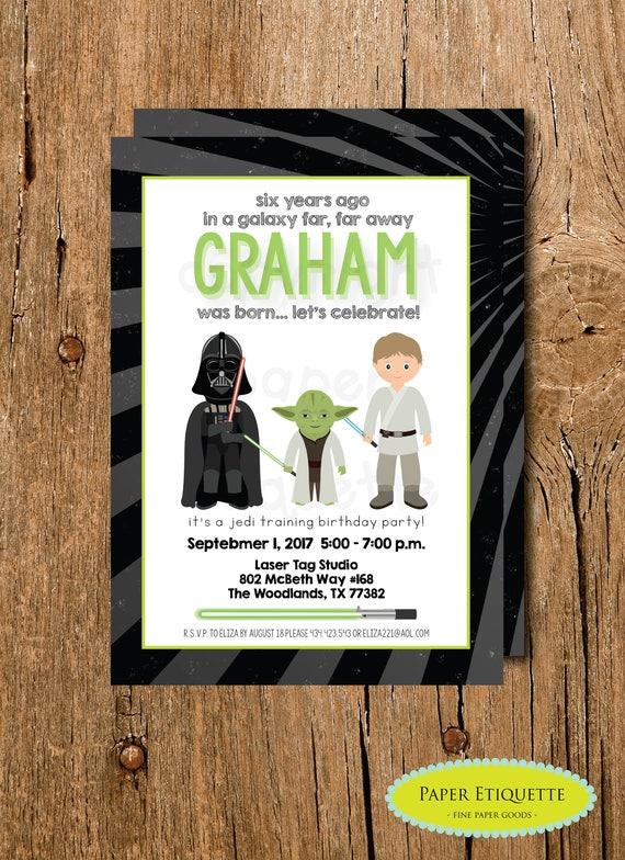 Star Wars Birthday Invite Laser Tag Party Darth