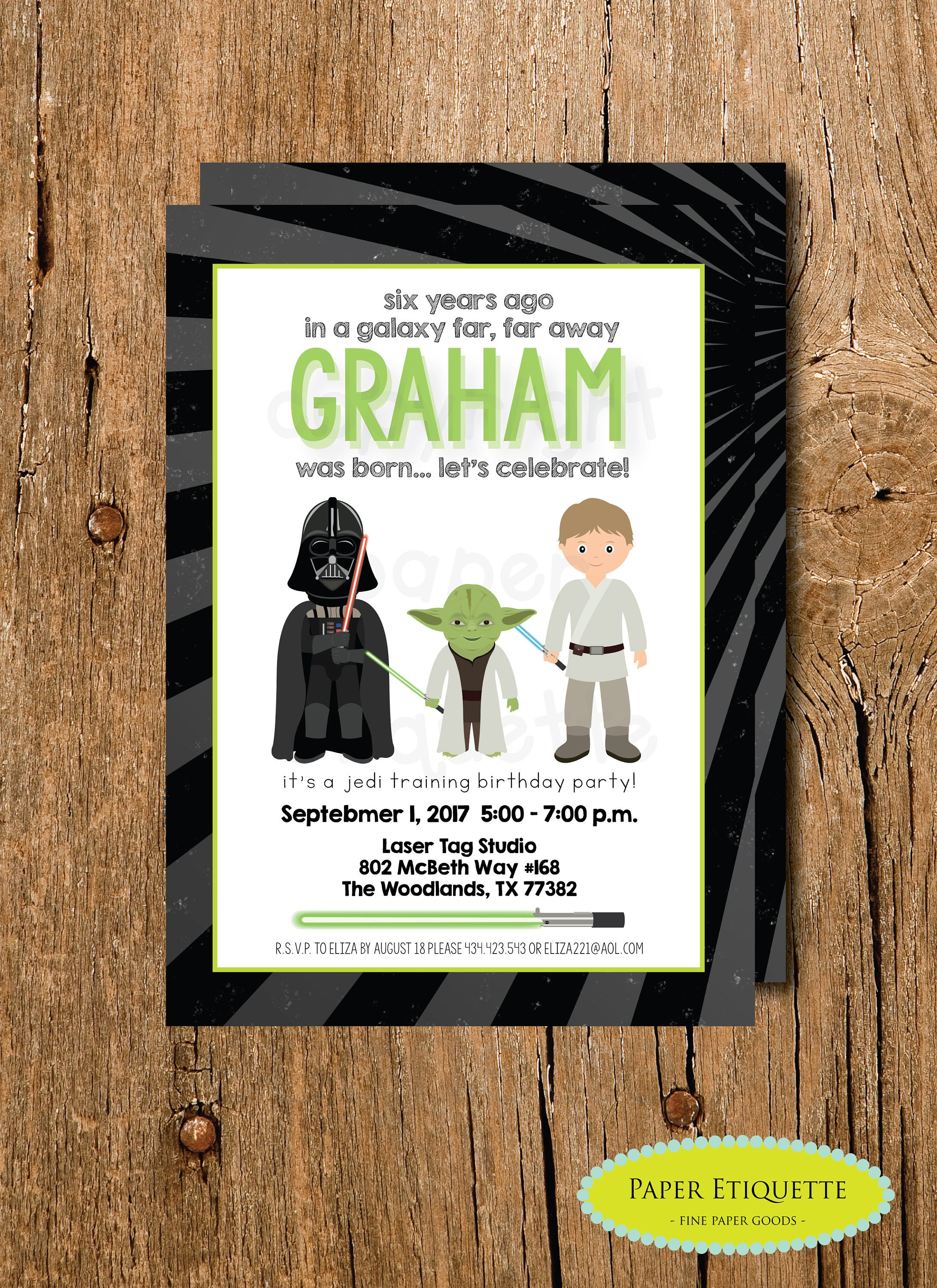 Star Wars Birthday Invite Laser Tag Party Darth