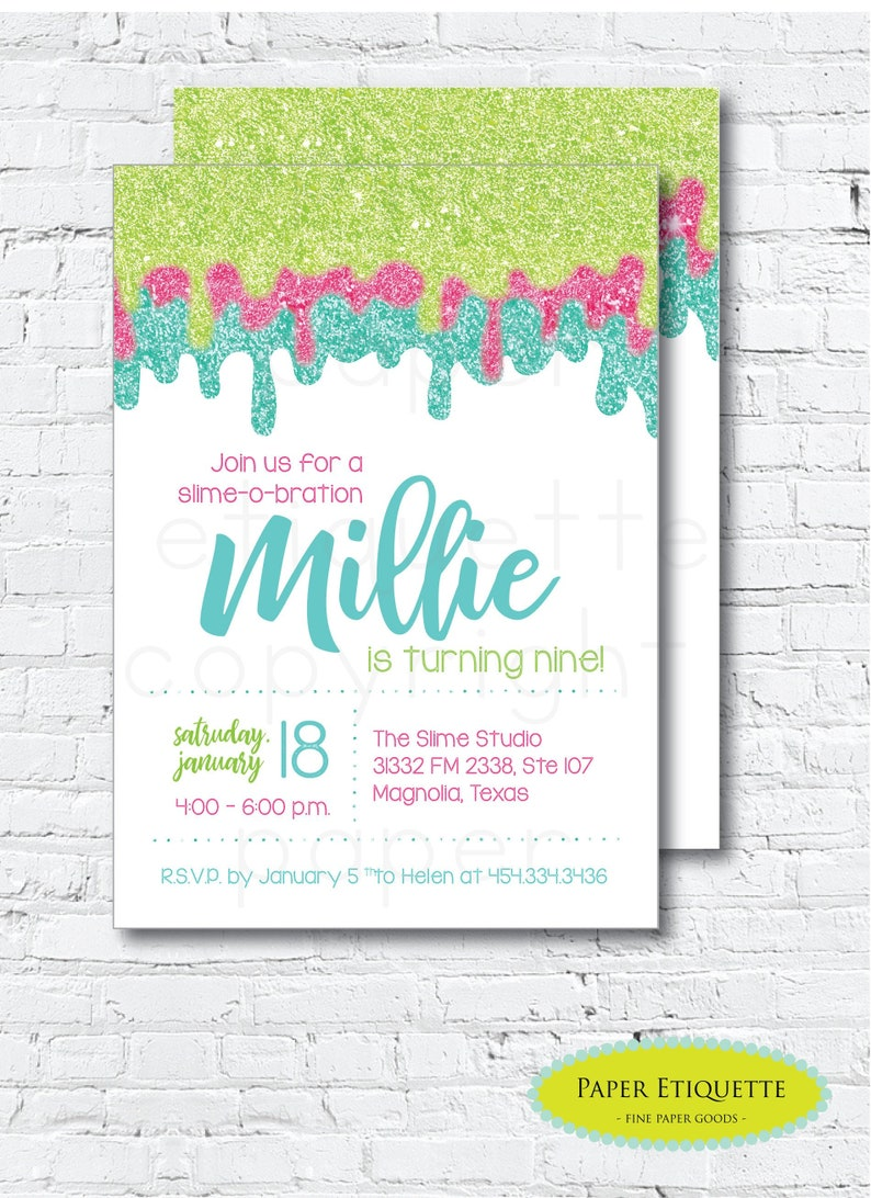 Slime Party Invitations Art Painting Birthday Pottery