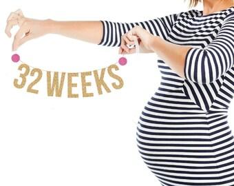 PREGNANCY COUNTER BANNER. Bump Tracker. Baby Bump Photo Prop