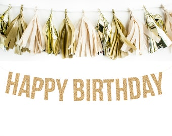 HAPPY BIRTHDAY Glitter Garland. Adult Birthday. Girl Birthday. First Birthday.
