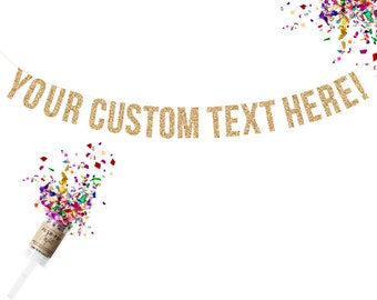 Custom Gold Glitter Garland. Custom Adult Birthday. Custom Birthday Banner