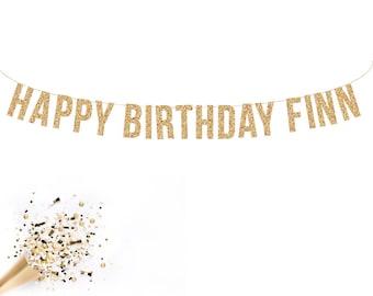 Custom Happy Birthday Banner. Gold Glitter Banner, Custom Gold Glitter Banner, Birthday Banner, Custom Gitter Sign, Gold Glitter Letters