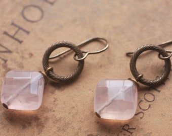 Oxidized, Natural, Vintaj Brass, diagonal cut Rose Quartz with etched ring, earrings