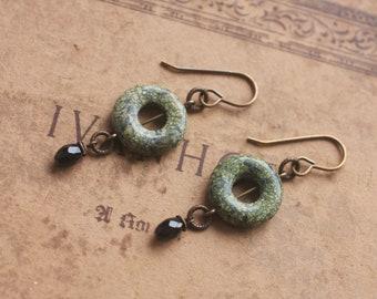 Oxidized, Natural, Vintaj Brass, donut shaped Serpentine and Black Onyx, natural stone earrings