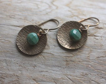 Oxidized. Natural, Vintaj Brass, African Green Moss Agate, button shaped, layered over textured and cupped circle, earrings