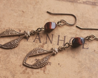 Oxidized, Natural, Vintaj Brass, Red Tiger Eye natural stone earrings with Parisian drop