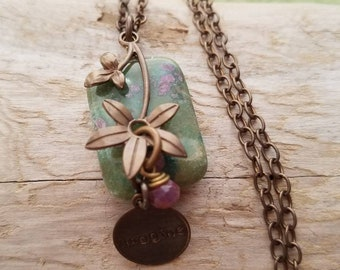 Oxidized brass,  natural brass,  Vintaj,  Fuchsite Ruby and Ruby, green, pink, rectangle pendant with flower overlay, word charm necklace