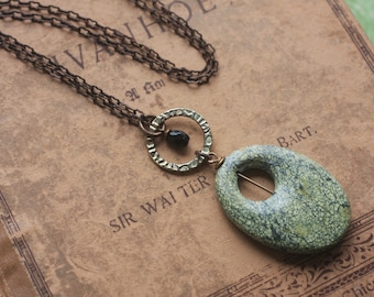 Oxidized, Natural, Vintaj Brass, oval shaped Serpentine necklace with green gold ring and small black onyx bead