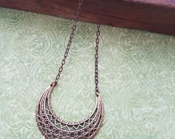 Oxidized Brass, Vintage Looking Crescent Shaped Filigree Earrings with Chain