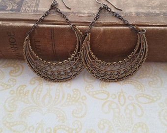 Oxidized Brass, Crescent Shaped Filigree Earrings with Chain, Long, Dangly, Vintage