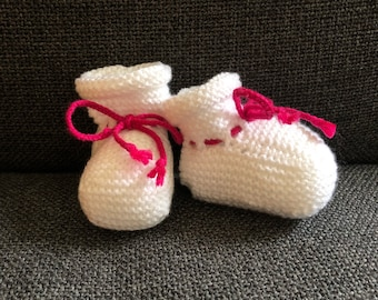 Knitted Baby Booties - Raspberry