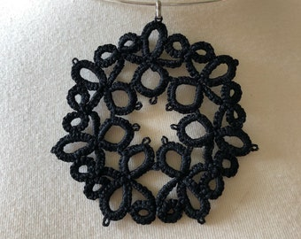 Delicate Tatted Black Pendant - Handmade lace - Free Shipping- Vintage pattern