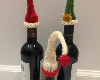 Wine Bottle Hats - Set of 3 - Unique - Holiday Gift