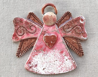 Folk Angel Pendant, Christmas Angel Pendant, Angel Ornament, Pink Angel Pendant, Vintage Red Angel, Painted Pendant, Lahela, Dry Gulch #2237