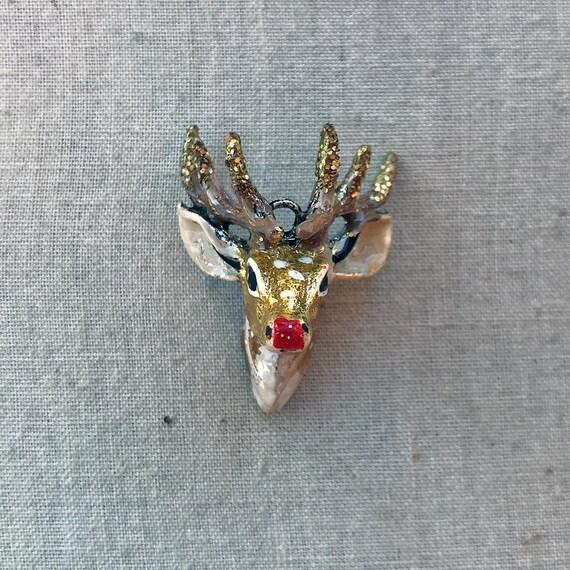 2 Pcs 22\u00d717.7mm Solid 925 Sterling Silver Reindeer Deer Sun Moon Charm Pendant