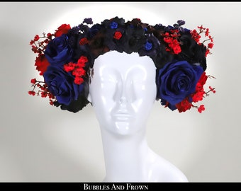 Kissing at Dawn.... Blue Red and Black Floral Wreath with Flowers Roses