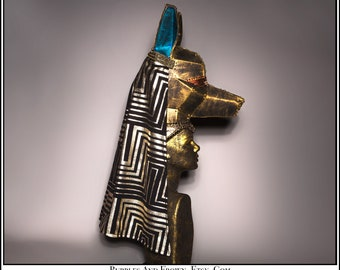 Anubis the God of Embalming... Egyptian Themed Headdress with Gold Black Cape Turquoise Metal Studs