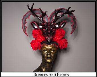 Decadent Deer.... Deer Headdress in Red Black with Rhinestones Flowers and Jewels
