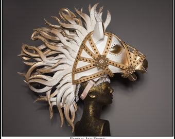 Golden Sunset... Gold and White Horse Headdress With Studs Glitter and Rhinestones