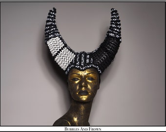 Dichotomy... Black and White Pleather Horns with Trim