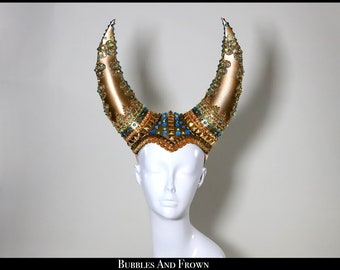 Gold Royal... Gold Horns Covered in Studs, Rhinestones and Sparkly Bits