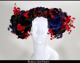 Kissing at Dusk.... Blue Red and Black Floral Wreath with Flowers Roses