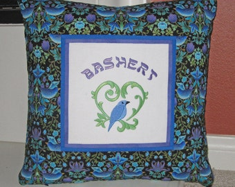 Bashert Jewish Yiddish Soulmate Embroidered Decorative Pillow Cover 16 inch Blue Birds