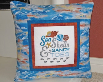 Sea Shells & Sandy Toes Embroidered Decorative Pillow Cover 16 inch
