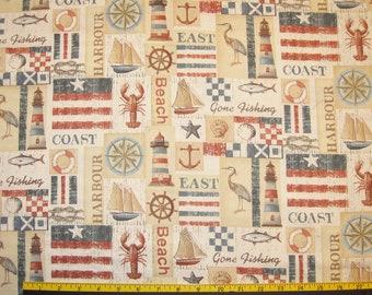 Kaufman Bayshore New England Design Fabric Destash 1 yard