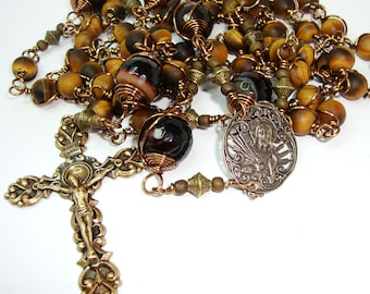 Catholic rosary,Sacred Heart of Jesus rosary, gemstone rosary, rosary,tigers eye,Abundant GRace,free shipping,bronze and brass components
