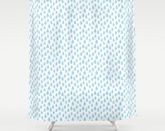 Blue Raindrops Shower Curtain Turquoise Bathroom Accessory Kids Interior Decor