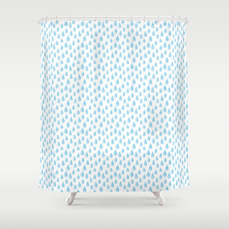 Blue Raindrops Shower Curtain Turquoise Bathroom Accessory