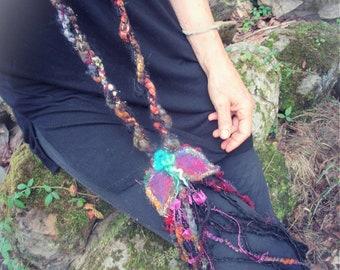 artyarn boa braid extra long necklace scarf -   gypsy trinkets fantasy adornment
