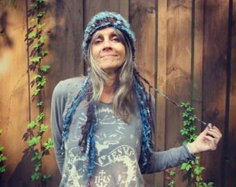 knit hat slouchy super soft and warm art yarn fantasy hat - woodland indigo dream hat